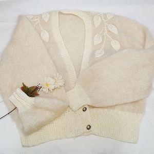 Balloon Puff Sleeve Sweater Short Cardigan